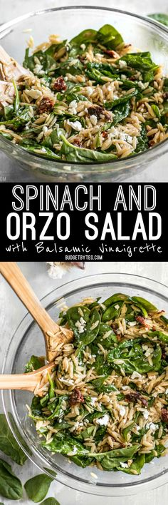 A quick homemade balsamic vinaigrette makes this simple Spinach and Orzo Salad extra special. Serve as a light lunch or a side with dinner. BudgetBytes.com Gluten Free Recipes, Vegan Recipes, Orzo Salad, Vegetarian Cooking, Green Beans, Side Dishes, Spinach, Salad Recipes, Vegetables