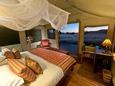 Desert Rhino Camp has the lightest possible environmental footprint of any semi-permanent, semi-luxurious lodge in Africa. In addition to its negligible Largest Countries, African Safari, Outdoor Furniture, Outdoor Decor, Lodges, Deserts, Beautiful, Bed, North West