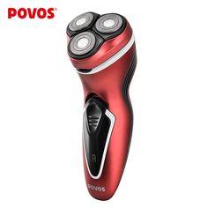 POVOS Rechargeable Men Triple Blade Ergonomic Design Electric Shavers Head Waterproof Razor with Pop-up Trimmer PW751/750