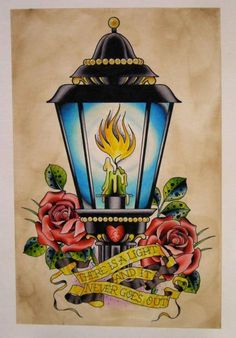 Candle Lamp Roses n Banner Tattoo Design
