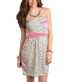 Look at this #zulilyfind! Pink & Ivory Floral Cutout Strapless Dress by Buy in America #zulilyfinds