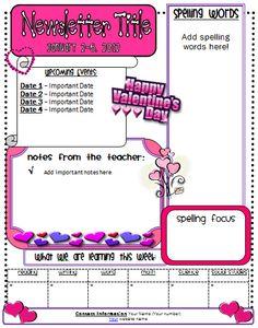 Free Valentine Newsletter Freebie Classroom Template Teacher Format