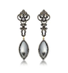 Black Spinel Gothic Earrings by Amrapali