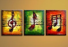 A COLOR INFUSION CELEBRATING THE MUSIC NOTE IN A SIMPLE & ABSTRACT WORK OF ART. YELLOW, GREEN & RED SHOWCASE THE WRITTEN LANGUAGE OF THE MUSIC NOTE. - THIS ABSTRACT MODERN ART PIECE IS HAND PAINTED, F