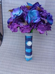 Custom Made Jen's Royal Passion Real Touch Orchid, Calla Lily And Hydrangea Wedding Bouquet Blue And Purple Orchids, Purple Calla Lilies, Calla Lily, Hydrangea Bouquet Wedding, Bride Bouquets, Wedding Flowers, Wedding Dresses, Purple Wedding, Trendy Wedding