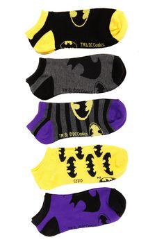 DC Comics Batman No-Show Socks 5 Pack | Hot Topic