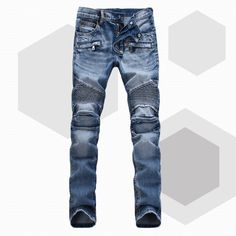 Bal Main Brand Paris Runway Stretch Jeans, Washed Acid Light Blue Biker Balm*in Jeans Men Plus Size 28 38 => Price : $49.50