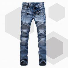 Bal Main Brand Paris Runway Stretch Jeans, Washed Acid Light Blue Biker Balm*in Jeans Men Plus Size 28 38 => Price : $49.50