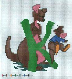 Borduurpatroon: Winnie de Poeh *Cross Stitch Winnie the Pooh ~Alfabet~ Disney Cross Stitch Patterns, Cross Stitch Designs, Cross Stitching, Cross Stitch Embroidery, Winnie The Pooh, Cross Stitch Letters, Abc For Kids, Cross Stitch Needles, Pooh Bear