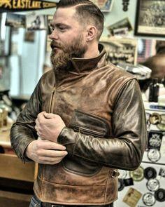 ✸This Old Stomping Ground✸ — vintageleatherjacket: Peregrine Steerhide. Leather Jacket Outfits, Men's Leather Jacket, Leather Men, Leather Jackets, Rocker Look, Motorcycle Style, Motorcycle Jacket, Rugged Men, Riders Jacket