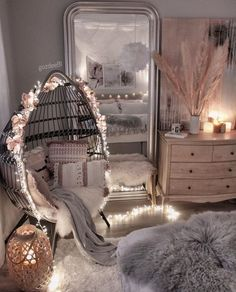 Cute Bedroom Decor, Bedroom Decor For Teen Girls, Room Design Bedroom, Girl Bedroom Designs, Stylish Bedroom, Room Ideas Bedroom, Small Room Bedroom, Bedroom Swing, Small Girls Bedrooms