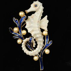 Trifari 'Alfred Philippe' Blue Coral and Pearls White Seahorse Pin, retro collection of 1965.  I'll pin the original 1930's next.