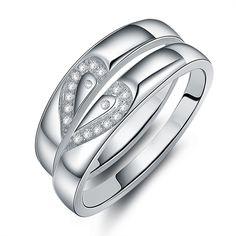Swiss diamond matching hearts pair of wedding rings - $35