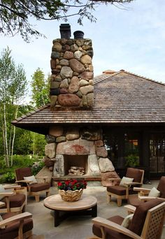 An outdoor fireplace design on your deck, patio or backyard living room instantly makes a perfect place for entertaining, creating a dramatic focal point. Outdoor Rooms, Outdoor Living, Outdoor Decor, Outdoor Furniture, Furniture Ideas, Porch Furniture, Outdoor Kitchens, Outdoor Cooking, Indoor Outdoor