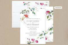 """Spring Wildflowers"" - Floral & Botanical, Simple Wedding Invitations in Pink Floral by Nikkol Christiansen."