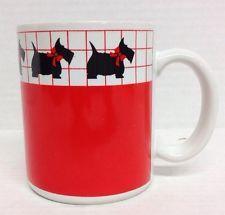 Scottie Dog Coffee Mug Scottish Terrier Red Black White
