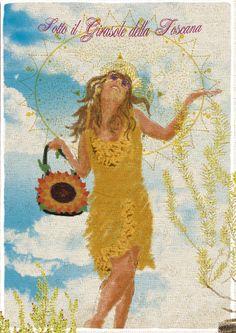 """Sotto il Girasole della Toscana"" by Mamatayoe. Postcard #2. PV14. Toscana, Painting, Art, Fashion Branding, Fabrics, Art Background, Painting Art, Kunst, Paintings"