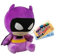 The Caped Crusader fights crime in ill humor, but that doesn't mean you should be as down! Turn that frown upside-down with this Batman 75th Anniversary Purple Rainbow Batman Mopeez Plush. Batman is shown in his purple and yellow Batman outfit with a clothed purple cape. Batman sits at 4 1/2-inches tall and is weighted on the bottom to retain a slouchy posture and adorable frustration. For ages 3 and up. #funko #mopeez #vinylfigure #plush #purplebatman #collectible