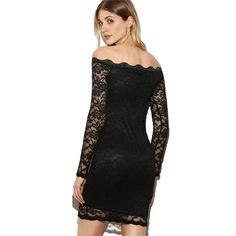 Black Scallop Off The Shoulder Sheer Sleeve Lace Dress