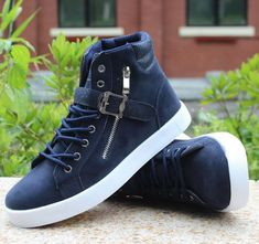 Mens Trendy High-Top Ankle Strap Sneakers #MensFashion #MensFashionSneakers