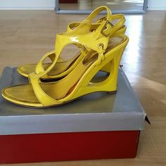 Yellow wedges Have wear 4 inch heel  No trades delicious Shoes Wedges