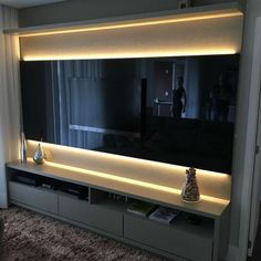 Beautiful TV panel in black lacquer, where the highlight is the illumination . Living Room Interior, Home Living Room, Living Room Decor, Home Room Design, Home Interior Design, Sala Vip, Modern Tv Wall Units, Modern Tv Room, Tv Unit Decor