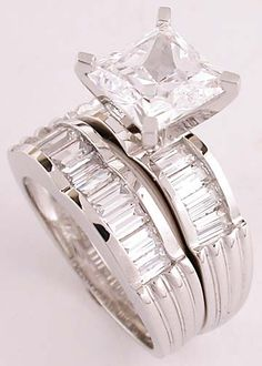 2 Carat Princess Cut Cubic Zirconia On A 14k Engagment Ring Set With Straight Baguettes