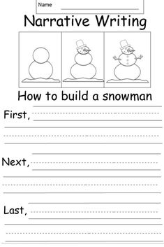 This is a free kindergarten narrative writing prompt worksheet. Students will write about the process to build a snowman. Narrative Writing Kindergarten, Narrative Writing Prompts, Procedural Writing, First Grade Writing, Sentence Writing, Writing Lessons, Kids Writing, Teaching Writing, Writing Skills