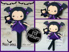 PDF. Bat girl with puppet.Plush Doll Pattern Softie by Noialand