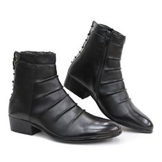 Best Stylish New Black Goth Punk Fashion Dress Ankle Boots Men Sale  SKU-1100122