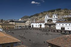 Plaza and Monastery of San Francisco in Quito's old town.