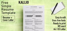 [aboutMyself] Kallio - Free simple resume template for Microsoft Word (DOCX)