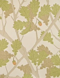 Feuille de Chene Wallpaper Ivory wallpaper with pistachio and light brown oak tree illustration with pale mandarin acorn.