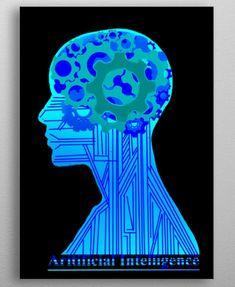 An illustration of a AI(Artificial Intelligent) Emblem Poster Prints, Illustration, Beautiful, Design, Art, Art Background, Kunst, Illustrations