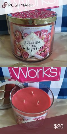 Bath & body works blushing pink rose petals candle Brand new 3 wick candle - see my other listings to combine shipping and for bundled discount bath & body works Other