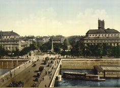 Paris 1895, belle vue du pont au Change et de la place du Châtelet