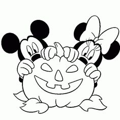 Page with hundreds of Halloween coloring pages including many Disney ones such as this great one of Mickey Mouse and Minnie Mouse with a Jack O'Lantern pumpkin.