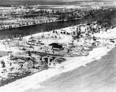 """The 'ballyhoo' spirit of the 1920's extended to a young city called Miami which sprung up from bulldozed forests of mangroves. The population more than doubled by 1926 from the census of 1920 (42,753) to well over 100,000. This swelling of optimism and speculation was almost obliterated by the Great Miami Hurricane of Sept. 1926. People ignorant of an """"eye"""" of a hurricane crowded into the streets; 35 minutes later a 10ft. storm surge swept through Miami."""