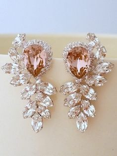 Blush pink and clear diamond chandelier earrings, Extra large stud earrings, Swarovski crystal earrings, Bridal earrings, High fashion - g-jewelry. Diamond Chandelier Earrings, Pink Chandelier, Diamond Jewelry, Diamond Stud, Gold Jewelry, Swarovski Crystal Earrings, Silver Earrings, Stud Earrings, Emerald Earrings