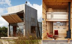 Transformer or beach hut? Positioned in a coastal erosion zone, this holiday retreat for a family of five is completely capable of being relocated. Duck Hunting Blinds, Diy Blinds, Camping Places, Earthship, House In The Woods, Architecture Design, Diys, Luxury, House Styles