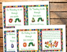 Instant Download Very Hungry Caterpillar Birthday Party or Baby Shower Printable Food Label Signs