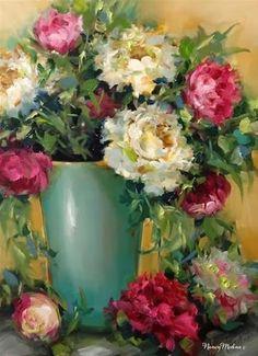 "Daily Paintworks - ""Confetti Pink Peonies by Nancy Medina"" - Original Fine Art for Sale - © Nancy Medina"