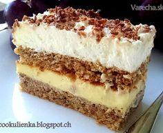 Orechové rezy so žĺtkovým krémom (fotorecept) Slovak Recipes, Czech Recipes, Ethnic Recipes, Pavlova, No Bake Desserts, Sweet Recipes, Tiramisu, Ham, Sweet Tooth