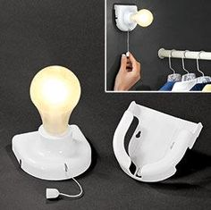 Stick-up Light Bulb requires 4 AA batteries; good for places where there are no other lighting options