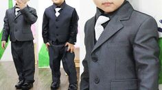 grey toddler tux | Boy Tuxedo Suit Dress Baby Toddler Infant Formal 6 Pcs Wedding 2 ...