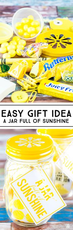 Share this sweet gift in a jar with a friend -- it's sure to make them smile! A Jar Full of Sunshine will spread a little extra love and laughter. livelaughrowe.com
