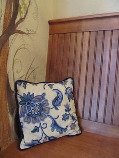 Vintage Pillow Decor Blue Floral Shabby Chic by enchantmevintage, $14.00