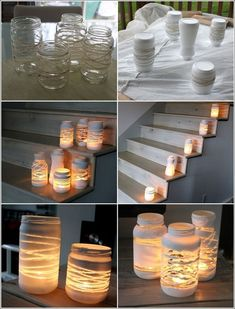 Deck decor craft diy candles, painted jars и jar lanterns Diy Candles, Candle Jars, Candle Holders, Small Candles, Glass Candle, Jar Lanterns, String Lanterns, Indoor Lanterns, Painted Jars