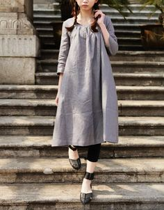STOCK  Linen Tunic Dress Grey Dress  Custom Made by camelliatune, $63.00