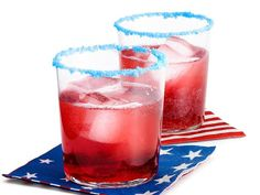 pop rocks rimmed cocktails- of July, red white and blue. Rims of pop rocks! That's the best idea I've heard all day! Party Drinks, Fun Drinks, Yummy Drinks, Holiday Drinks, Yummy Food, Alcoholic Beverages, Party Snacks, Mixed Drinks, Yummy Treats